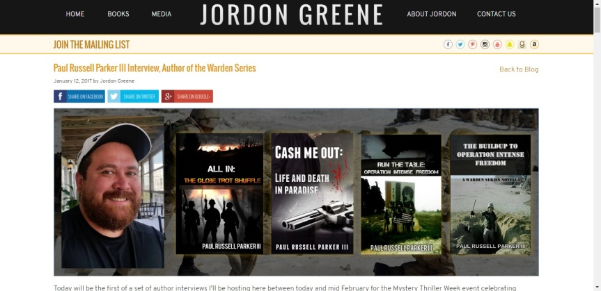 My Author Interview on Jordon Greene's website