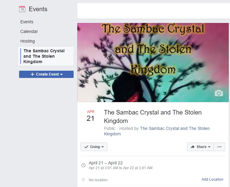 Facebook Event for The Sambac Crystal and The Stolen Kingdom