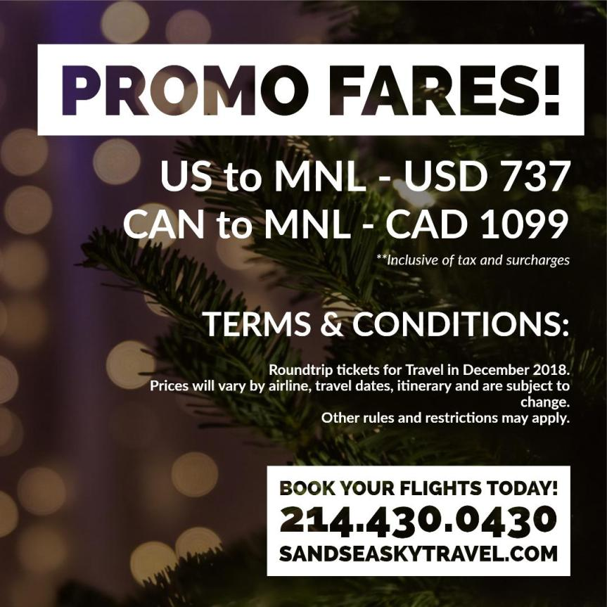 SandSeaSkyTravel.com December 2018 Promo Fares to Manila