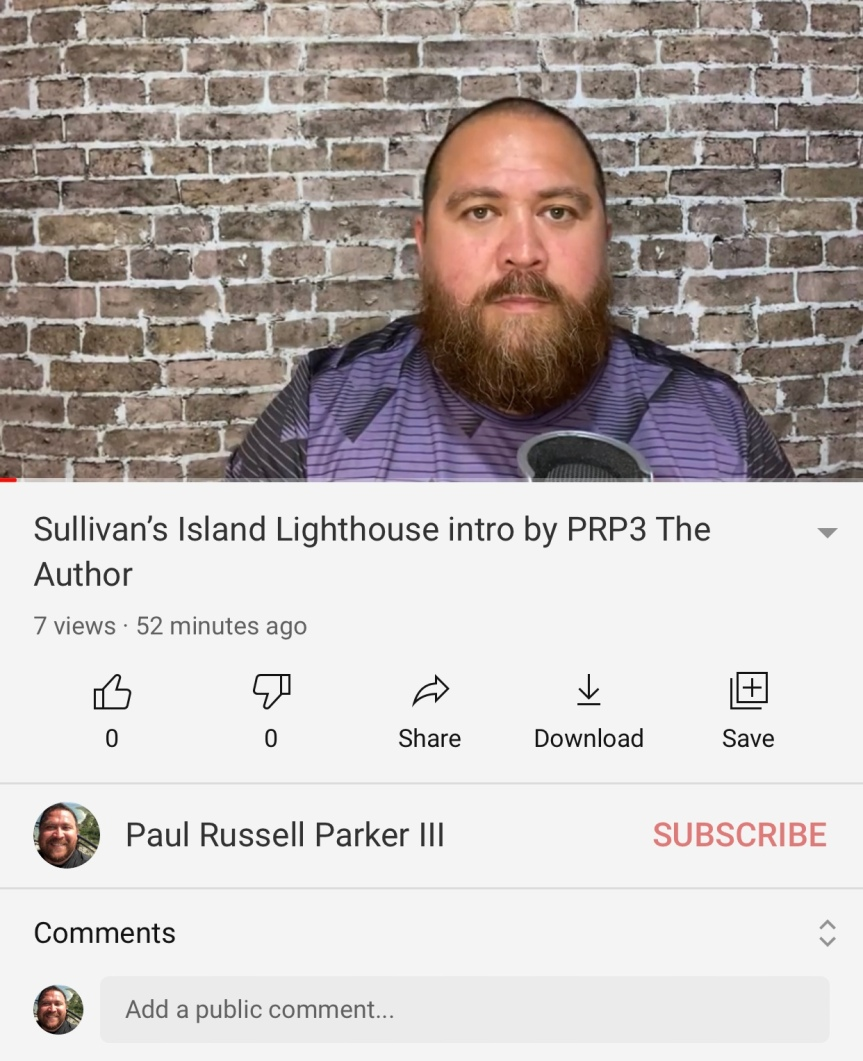 PRP3 The Author introducing Sullivan's Island Lighthouse